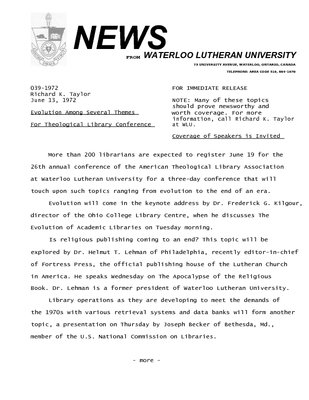 039-1972 : Evolution among several themes for Theological Library Conference