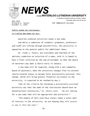 065-1972 : Public asked for assistance in finding new name for WLU