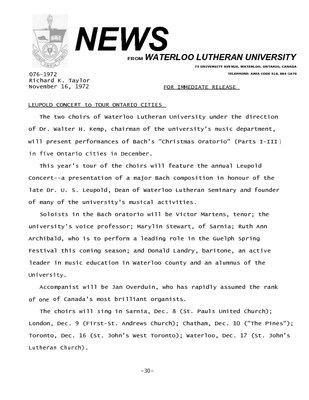 076-1972 : Leupold concert to tour Ontario cities