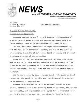 006-1973 :  Progress made in first talks between WLU and government