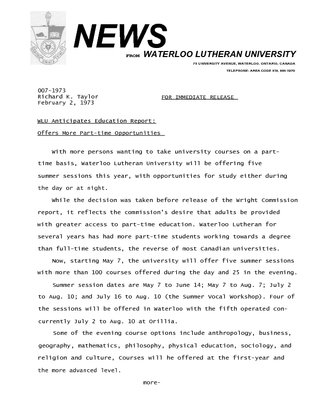 007-1973 :  WLU anticipates education report : offers more part-time opportunities