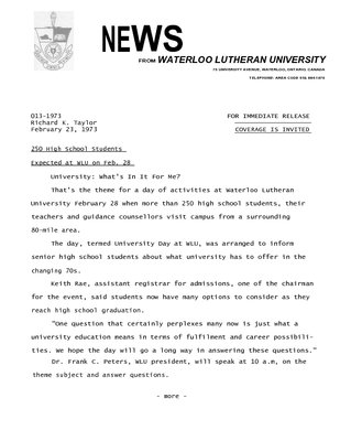 013-1973 :  250 high school students expected at WLU on Feb. 28