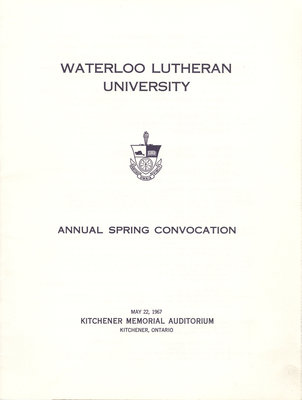 Waterloo Lutheran University spring convocation 1967 program