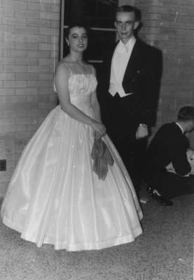 Waterloo College students Jean Koehler and Ian Fraser in formal attire