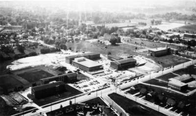 Aerial view of Waterloo Lutheran University, ca. 1962