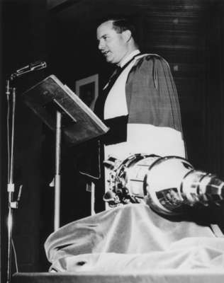 William G. Davis at Waterloo Lutheran University fall convocation, 1963