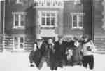 Waterloo College School students standing in front of Willison Hall