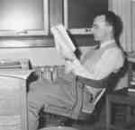 Howard Bream reading a book