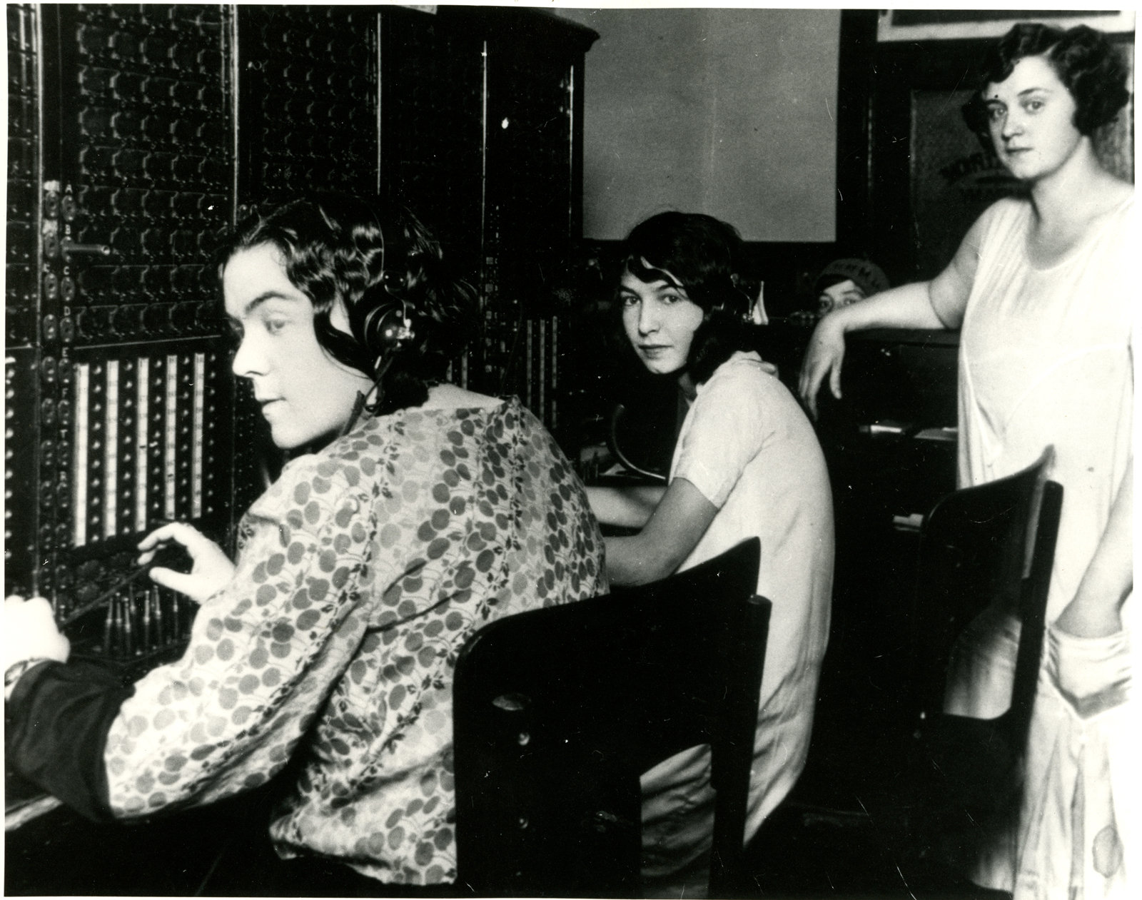 Telephone System in Sturgeon Falls, 1929. From left to right: Jennie O'Connor, Thelina Biglow, Mable Knight (manager). Courtesy the West Nipissing Public Library.