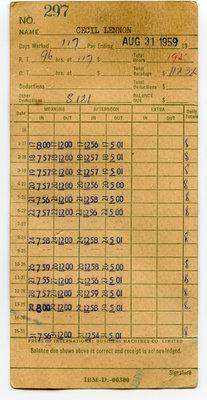 Feuille de présence de Cecil Lennon du George Gordon Lumber Company / Time card of Cecil Lennon from George Gordon Lumber Company