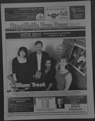 Stouffville Free Press (Stouffville Ontario: Stouffville Free Press Inc.), 1 Oct 2014