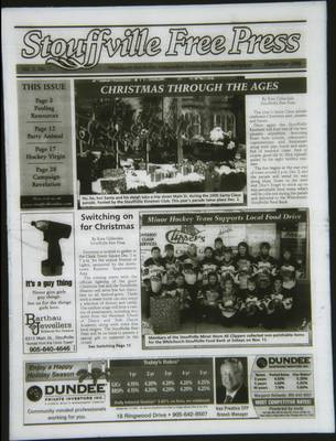 Stouffville Free Press (Stouffville Ontario: Stouffville Free Press Inc.), 1 Dec 2006