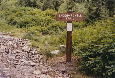 Baden-Powell Trail sign post at the Cypress Park Resort