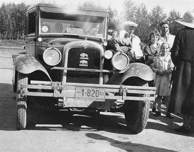 1925 Chevrolet, berry pickers and campers in West Vancouver