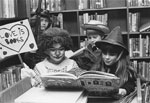 Library Children Dressed in Halloween Costumes