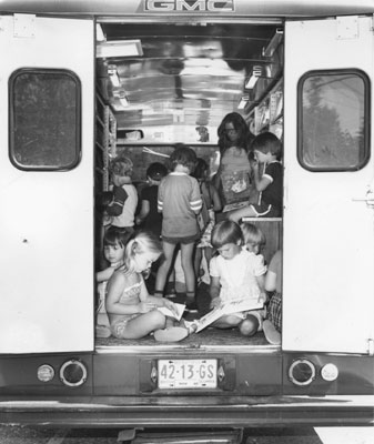Children Crowding into the Bookmobile
