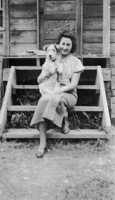 Ruth McBurnie holding dog