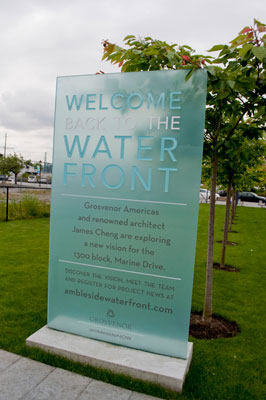 """Welcome Back to Waterfront"" Sign"