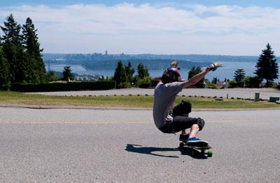 Longboarder on Westhill Drive
