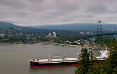 Ship Passing Under Lions Gate Bridge
