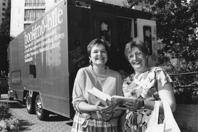Pam Douglas & Daphne Grisdale with Bookmobile