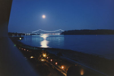 Moonlit Lions Gate Bridge from Ambleside