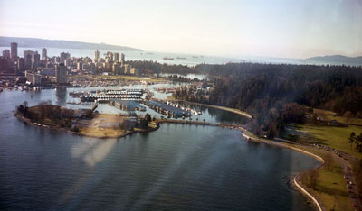 Aerial View of Stanley Park, Lost Lagoon & Downtown