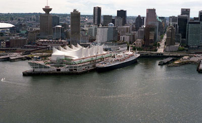 Aerial View of Canada Place & Downtown Vancouver