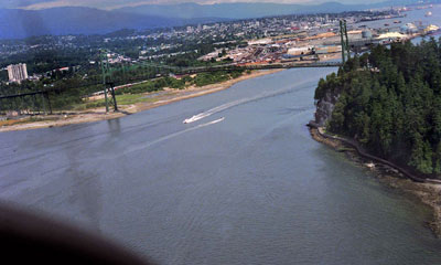 Aerial View of Lions Gate Bridge & North Vancouver