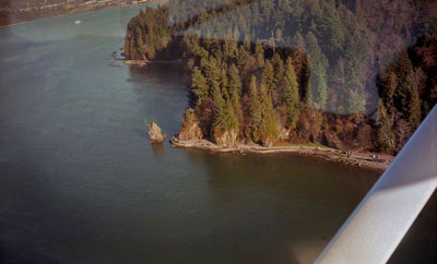 Aerial View of Seawall, Siwash Rock & Capilano River