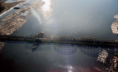 Aerial View of Pitt River Train Bridge
