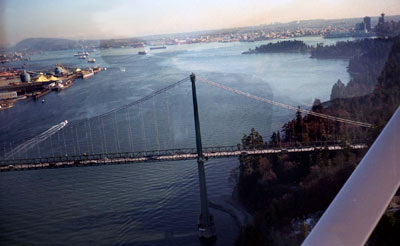 Aerial View of Lions Gate Bridge & Burrard Inlet
