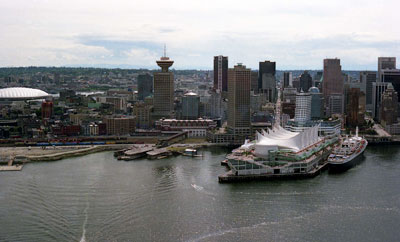 Aerial View of Canada Place, B.C. Place & Downtown Vancouver