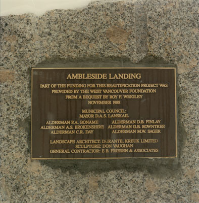 Commemorative Plaque at Ambleside Landing