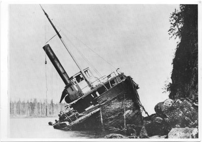 The S.S. Beaver lies shipwrecked off Prospect Point