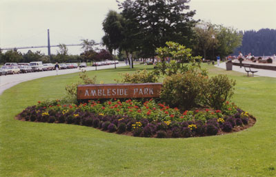 Ambleside Park sign and flower bed
