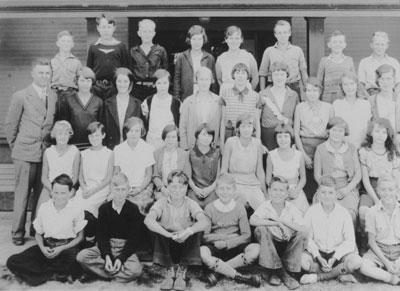 Hollyburn School class photo, Grade VII with teacher Ed Lane
