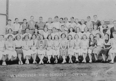 West Vancouvr High School, class photo, Div. VII, 1937