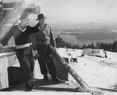George Thompson and companion on Hollyburn Ridge