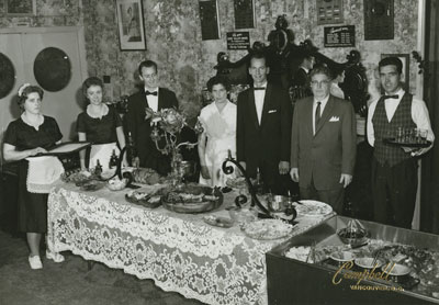 George Thompson and his staff at the Capilano Gardens Restaurant