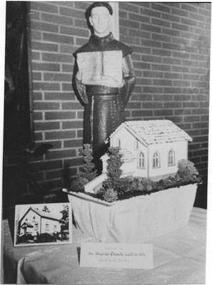 Cake for St. Anthony's 60th Anniversary celebration replica of first church