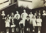 Father N.J. Windt and the Sunday School class at St. Anthony's Church