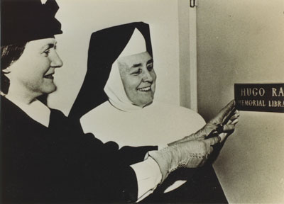 Mrs. Hugh Ray & Sister Mary Bernard at the dedication of St. Anthony's School Library