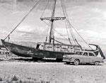 Wooden sail boat & Elise Ellis