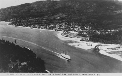 Aerial View of Passenger Ship Entering the Narrows