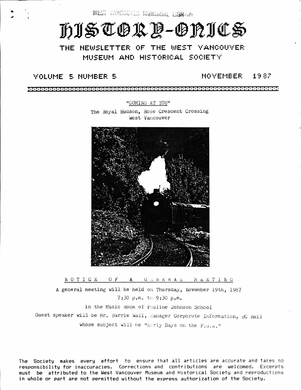 History-onics (West Vancouver, BC: West Vancouver Historical Society), November 1987
