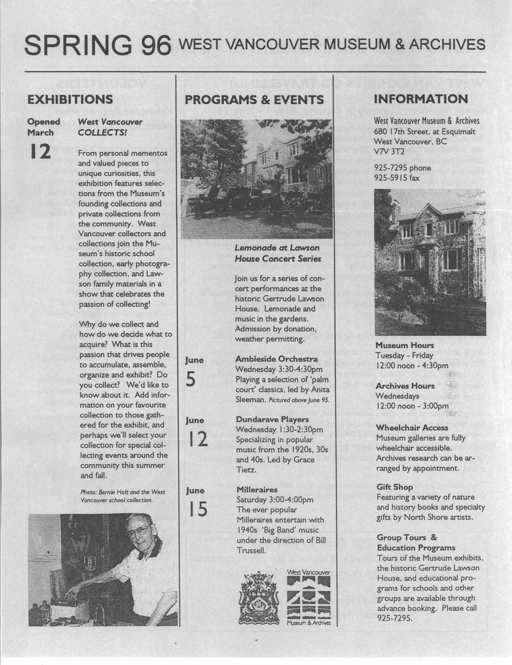 History-onics (West Vancouver, BC: West Vancouver Historical Society), April 1996