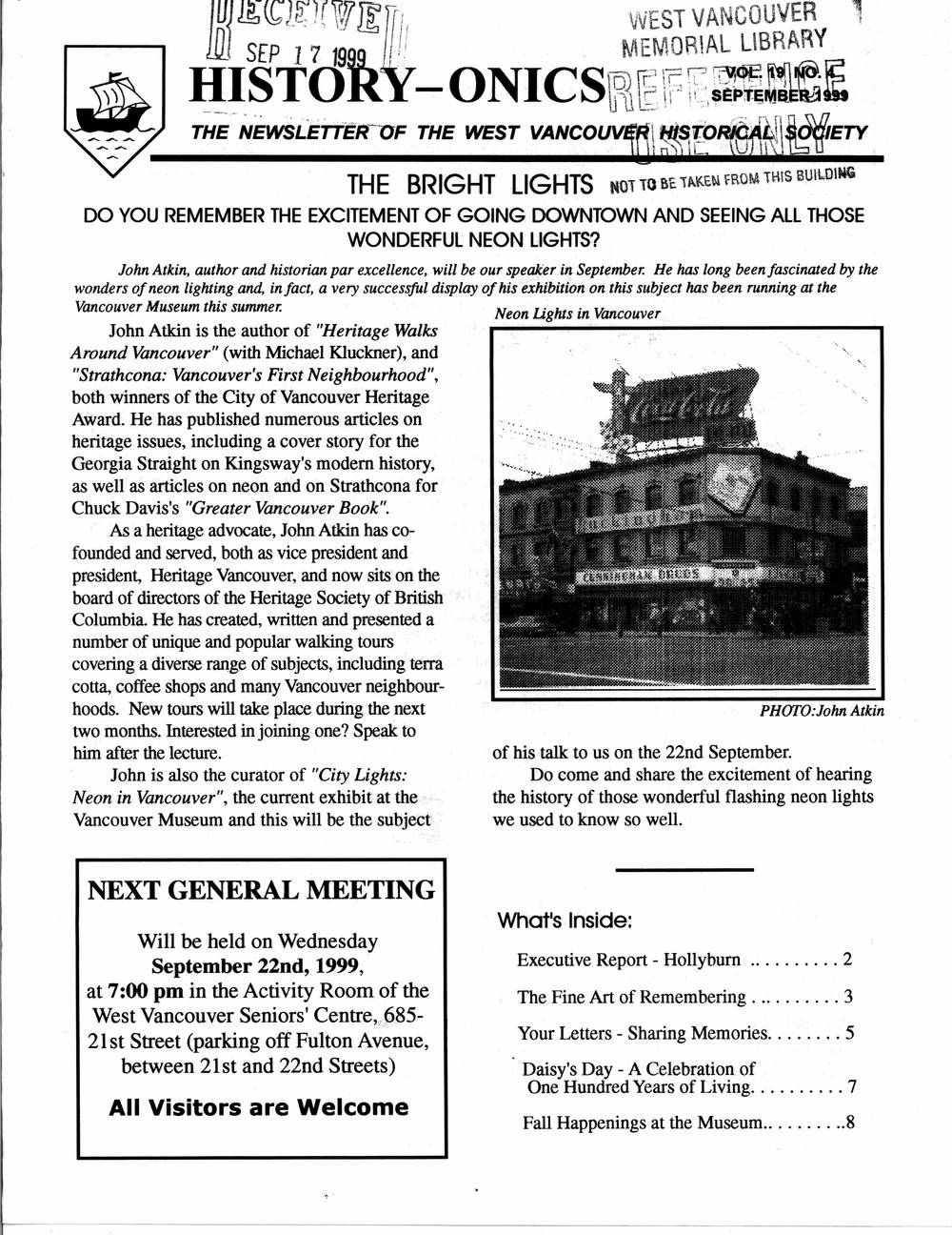 History-onics (West Vancouver, BC: West Vancouver Historical Society), September 1999