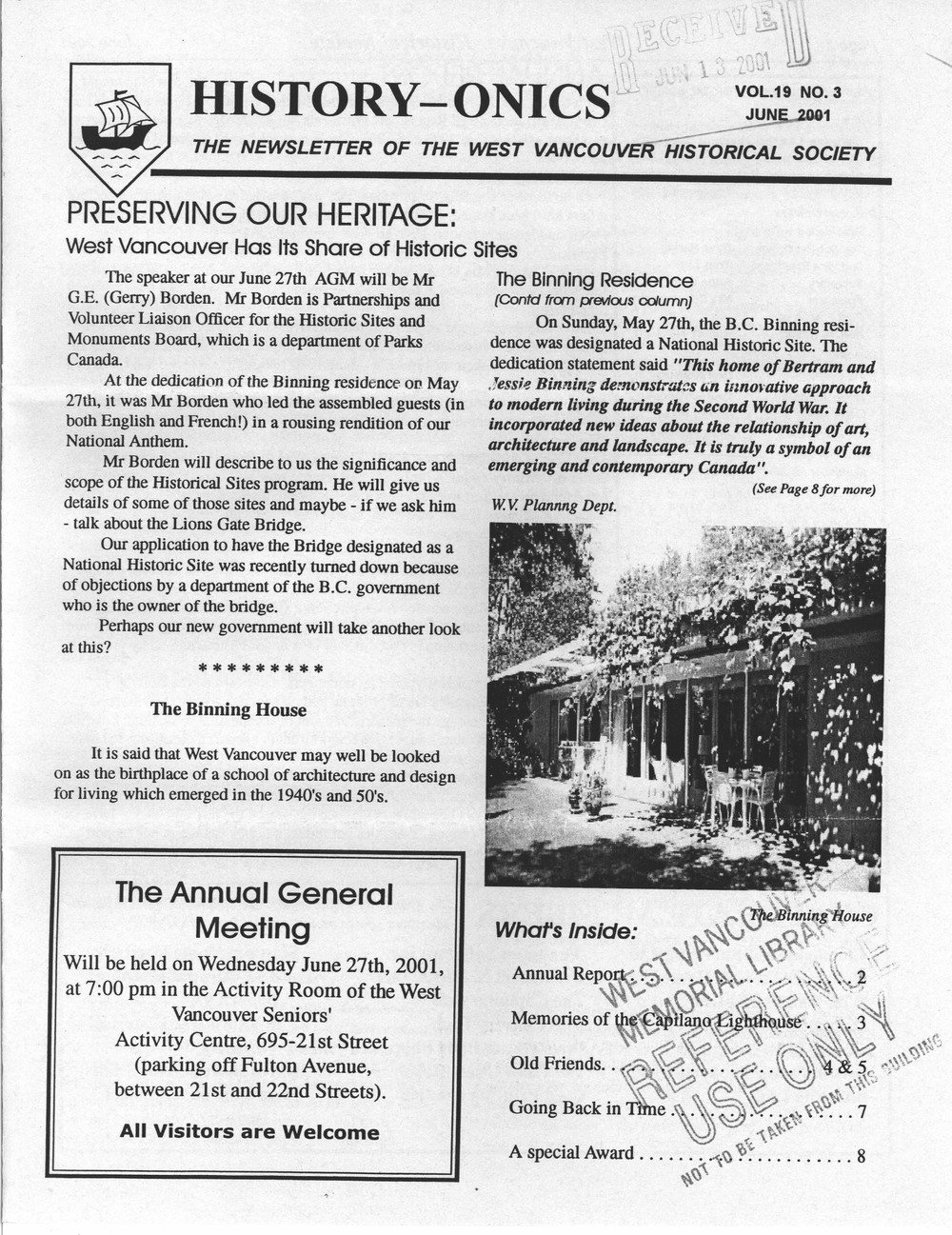 History-onics (West Vancouver, BC: West Vancouver Historical Society), June 2001