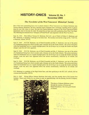 History-onics (West Vancouver, BC: West Vancouver Historical Society), November 2005